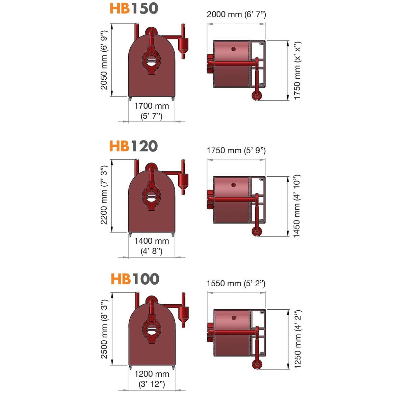 HB150 HB120 HB100- DÖNERLİ KAVURMA FIRINI_Proje